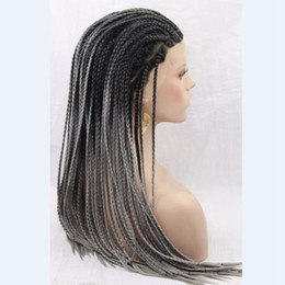 Wholesale Grey Lace Front Wigs - Synthetic Micro Braided Wigs Ombre Black to Grey Synthetic Braided Lace Front Wigs African American Braided Wig for Black Women