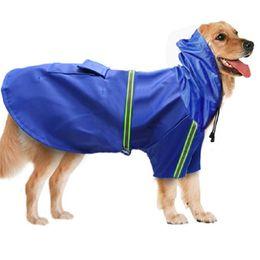 Мода Pet собака дождевики плащи водонепроницаемая одежда дождевик пончо с капюшоном светоотражающие полосы для малых средних больших собак от