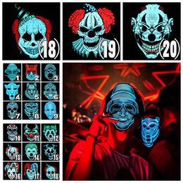 forro frio Rebajas 20 estilos Halloween El Wire Cold Light Line Fantasma Horror Máscara Fiesta LED Cosplay Masquerade Street Dance Halloween Rave Toy 20 unids AAA1065