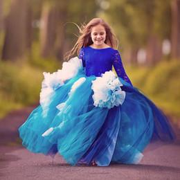 Wholesale Dancer Dresses Girls - European and American all-lace long-sleeved dancer flower child treasure blue flying skirt performs the girl's wedding dress