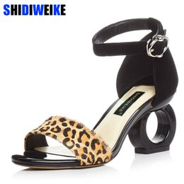 Wholesale Horse Hair Leopard - Leopard Sheepskin Fashion Brands Sandals Horse Hair Strange Style Buckle Strap Party Pumps Yellow Sexy Ankle Strap Woman Shoes
