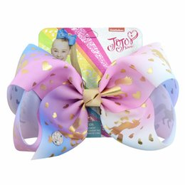 "Wholesale Horse Hair Bow - 1piece 8"" JoJo Bows Heart Star Mermaid Horse Unicorn Print Hair Bows With Clips For Kids Colorful Hairpins Hair Accessories"
