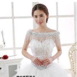 cappelli nuziali nuziali della piuma bianca della piuma Sconti Collana a catena da sposa, pizzo, scialle da sposa, accessori per abiti da sposa in cristallo di grandi dimensioni