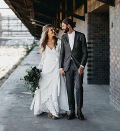 Wholesale Plus Size Crochet Skirt - 2018 Vintage Hippie Country Crochet Lace Wedding Dresses A Line Bohemian V-neck Long Sleeve Elegant Bridal Gowns Plus Size Vestido De Noiva