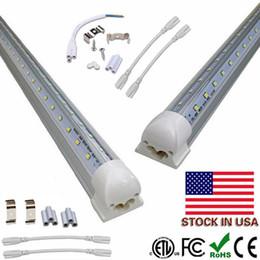 Wholesale Tube Led Cooler Door Lights - 8ft led V-Shaped 4ft 5ft 6ft Cooler Door Led Tubes Integrated Led Tubes Double Sides SMD2835 Fluorescent Lights AC 85-265V UL DLC