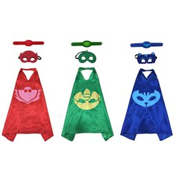 Wholesale new gecko - New PJ masks 3pcs set PJ Masks Role-play cloak Cape and Mask Owlette Catboy Gecko Cosplay Action Toys For Children costume