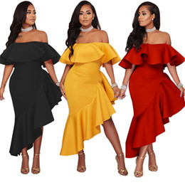 Wholesale High Neck L Halter Dresses - 2018 new women's summer dress fashion word collar flounced ladies irregular halter high waist dress for women clothing vestidos SW2-9