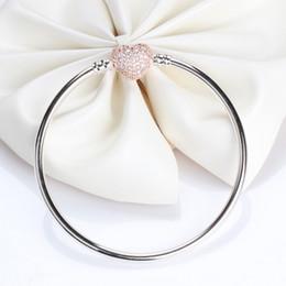 Canada Bracelet en argent sterling 925 plaqué or Bracelet coeur en cristal plaqué cristal CZ pour Pandora Charms Boîte cadeau pour femme Offre