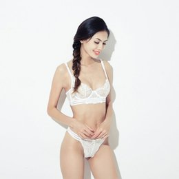 Wholesale Sexy White See Through Lingerie - Women's Summer Breathable Ultra-thin Bras Briefs Sets Sexy See Through Unlined Bra Panty Lingerie Set Push Up Braletter Set