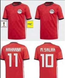 Wholesale Flashing Cups - 2018 world cup Egypt Soccer Jersey home RED M.SALAH M.ELNENY KAHRABA SOBHI ELMOHAMADY HEGAZY uniforms customized name number FOOTBALL SHIRTS