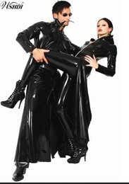 Wholesale Shiny Black Coats - New Listing Men Women Black Shiny PVC Latex Matrix Neo Long Coat Faux Leather Long Trench Coat Costume S-XL