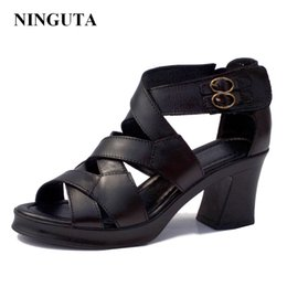 Wholesale Woman Puppy - Genuine Leather high heels gladiator sandals women summer ladies shoes