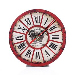Wholesale Clocks European Vintage - Modern Design Vintage Rustic Shabby Easily Install And Remove Retro European Circular Wooden Clock
