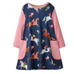 Wholesale baby horse clothes - Horse Printed Girl Tunic Dress Animals Appliqued New Baby Clothing Children Princess Dress for Kids Long Sleeve Clothing