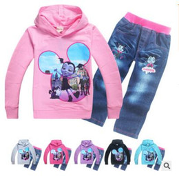 Wholesale Tracksuits For Baby Girls - Girls Vampirina Children Tracksuit Hoodies Jean for Kids Baby Spring Autumn Clothes set Costume Sports Suit Teens Clothes DHL Free Shipping