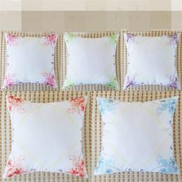 Wholesale cushion diy - Printing Blank Pillow Case Polyester Fiber Diy Pillowslip Home Textiles Lace Cushion Cover Non Core Bedding Supplies 6sx bb