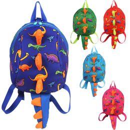 Wholesale hot school boys girls - Kids 3D Dinosaur Anti Lost backpack HOT girls boys kindergarten backpacks school bag Double Zipper Large Capacity Dinosaurs Travel Beach Bag
