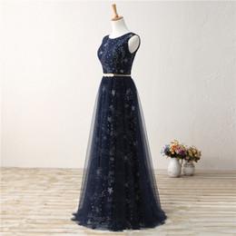 dama de honor azul real fajas de cristal Rebajas MAGGIEISAMAZING Joya al por mayor sin mangas de espalda con cordones vestido de noche vestidos de baile baratos con longitud del piso CYH0000LG0222
