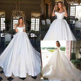 Wholesale Exquisite Wedding Dress Off Shoulder - Exquisite Milla nova White Wedding Dresses Off Shoulder Lace Satin African Train Ball 2018 Vestido de novia Bridal Gown Plus Size Custom