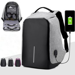 Wholesale Wholesale Business Clothes - USB Charging Backpack Anti-theft Hidden Zipper Laptop Backpacks Business Travel Bag Waterproof School Bags 3 Colors