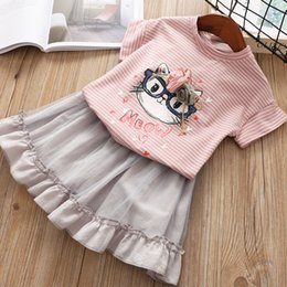 Wholesale t shirts lace wholesale printing - Summer girls clothes cartoon cat stereo flowers Bows stripes T-shirts+lace tutu skirts 2pcs sets kids letter printed outfits clothes