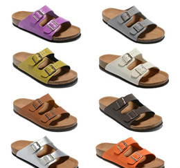 branded slippers women Promo Codes - Men's Flat Sandals Women Casual Shoes Double Buckle Famous Brand Arizona Summer Beach Top Quality Genuine Leather Slippers With Orignal Box