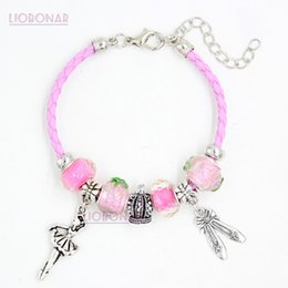Wholesale dancing shoes for women - New Pink Leather Bracelet Pink Lampwork Murano Glass Bead Ballet Shoe Dancing Ballerina Charm Bracelets for women girls Jewelry Gift Pulsera
