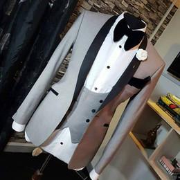 Wholesale mens grey pinstripe suit - Light Grey Men Wedding Suits Slim Fit Shawl Lapel Groomsmen Suit Mens Tuxedo Blazer Wedding Prom Suits 3 Pieces Black Pant