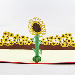 Tarjetas de felicitación para el nuevo año online-Invitaciones de la fiesta de cumpleaños de la boda tarjetas Invitaciones de girasol 3D Favor de la tarjeta de felicitación de la flor del sol del año nuevo Venta caliente 6 5qy hh