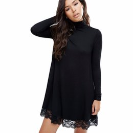 Wholesale Sexy Black Lace Turtleneck Dress - Wholesale-2017 Autumn New Arrival Women Sexy Black Crochet Turtleneck Lace Long Sleeve Loose Shift Dress Female Patchwork Straight Dresses