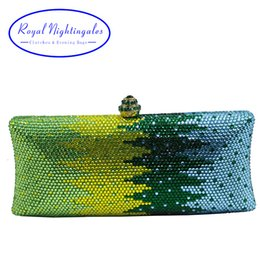 Wholesale Preppy Shoes - Luxury Green Flower Crystal Clutches and Evening Bags for Womens Party Bridal Wedding Evening Prom and Matching Shoes and Dress