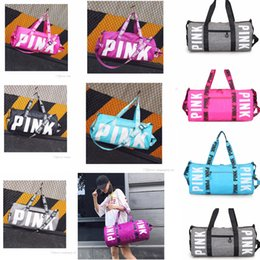 Wholesale printing canvas - 10 Colors Pink Stripe Duffle Bag Beach Printing Letter PINK Shoulder Bag Large Capacity Travel Mommy Bag Outdoor Gym Handbag AAA601