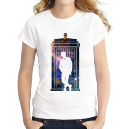 Wholesale Wholesale Galaxy Shirts - Wholesale-New fashion Women's galaxy phone box cartoon Printed T shirt retro lady's doctor who design casual tops slim hipster coo