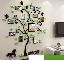 Wholesale plastic murals - 3D acrylic crystal wall stickers living room bedroom cozy pictures tree stickers creative home decoration blank 130*116cm