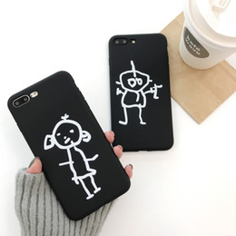 Wholesale Character Cases Iphone Silicone - Cartoon Character Phone Case For iX i6 6S 7 8 Plus Cover Fashion Cute Abstract Art Line Graffiti Cases