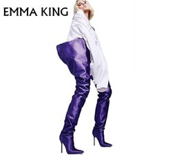 mujeres del sexo botas negras Rebajas 2018 Botas de tacón alto sobre el sexo sobre las rodillas Las mujeres se deslizaron con el dedo del pie en naranja brillante Negro Rosa púrpura Cintura de satén Botas altas EURO 35 # -43 #