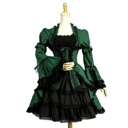 Halloween personalizzato verde e nero cotone colletto quadrato manica lunga flare pizzo gotico vittoriano abiti da lolita costumi per le donne da
