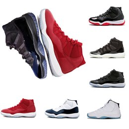 Wholesale cow shoes - 2018 11 Prom Night Cap and Gown Gym Red Chicago Bred Midnight Navy WIN LIKE 82 UNC Space Jam 45 Basketball Shoes 11s