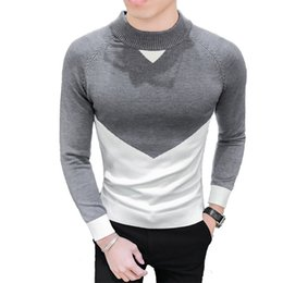 Wholesale Mens Wool Jerseys - Mens Knitted Pullover Contrast Patchwork Mens Sweater Pullovers Grey Fancy Men Sweater Brand Jerseys Hombre Invierno Slim Fit
