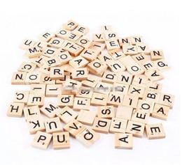 Wholesale Black Wooden Letters - 100pcs set Wooden Alphabet Scrabble Tiles Black Letters & Numbers For Crafts Wood B11