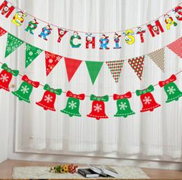 decorazione dei calzini di santa Sconti Christmas Banner Flags 8 Styles Decor Hanging Pupazzo di neve Babbo natale Alce calzini Decorazione Bandiera Party Decor 60pcs OOA5419