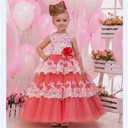 Wholesale Pretty Pictures Flowers - Pretty Lace 2018 Cheap Girls Pageant Flower Girl Dresses Jewel Neck Ruffles Layers Tulle Zipper Back Wedding Girls Bridesmaid Dress Cheap