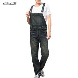 MORUANCLE Moda Hombre Suelta Denim Monos Jeans sueltos Bib Monos para  hombre grande y alto Multi bolsillos lavados más el tamaño S-4XL barato  pantalones ... 38da9d3c0c5