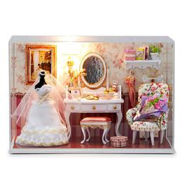 Wholesale forever 12 - CuteRoom T-001 Love You Forever DIY Dollhouse Kit Miniature Model With Light Cover Best Chrismas Gift For Children