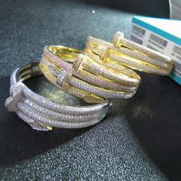 Weißgoldmanschettenarmband online-Großhandel neue hochwertige Designer Manschette Zirkonia gepflastert Armreif 18 Karat Gelbgold / Weiß / Rose vergoldet Armbänder für Frauen