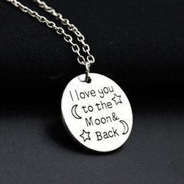 Wholesale Christmas Gifts For Moms - Fashion Necklace I Love You To The Moon & Back For Mom Sister Family Pendant Link Chain Sweater Necklace Christmas Gifts