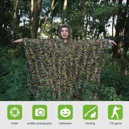 vêtements forestiers Promotion 3D Feuilles de pluie Poncho Feuilles Vêtements Jungle Woodland en plein air Chasse Camo Cape Chasse Tir Oiseau Ensemble Set manteau de pluie FFA918 5pcs