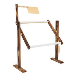 Китайские инструменты онлайн-Регулируемая стойка для вышивки крестом из твердой древесины Деревянная подставка для рабочего стола Вышивка крестом Рамка для вышивания Китайский инструмент Аксессуар