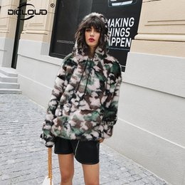 Wholesale Vintage Hooded Sweatshirts - Chic Camouflage Fox Fur Hoodies Sweatshirts Women 2017 Winter Faux Fur Jackets Coats Fluffy Oversize Hooded Outerwear Coats