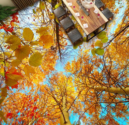 Cubrir azulejos online-Piso 3d que cubre los árboles del otoño maderas suelo 3D al piso azulejos pintados piso del vinilo cuarto de baño